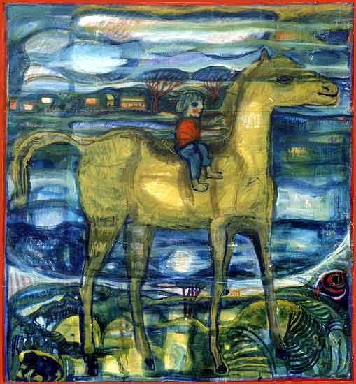 Elli auf dem Pferd, oil painting by Annemirl Bauer, portraying Charlie A Raya / Ellen Paschiller